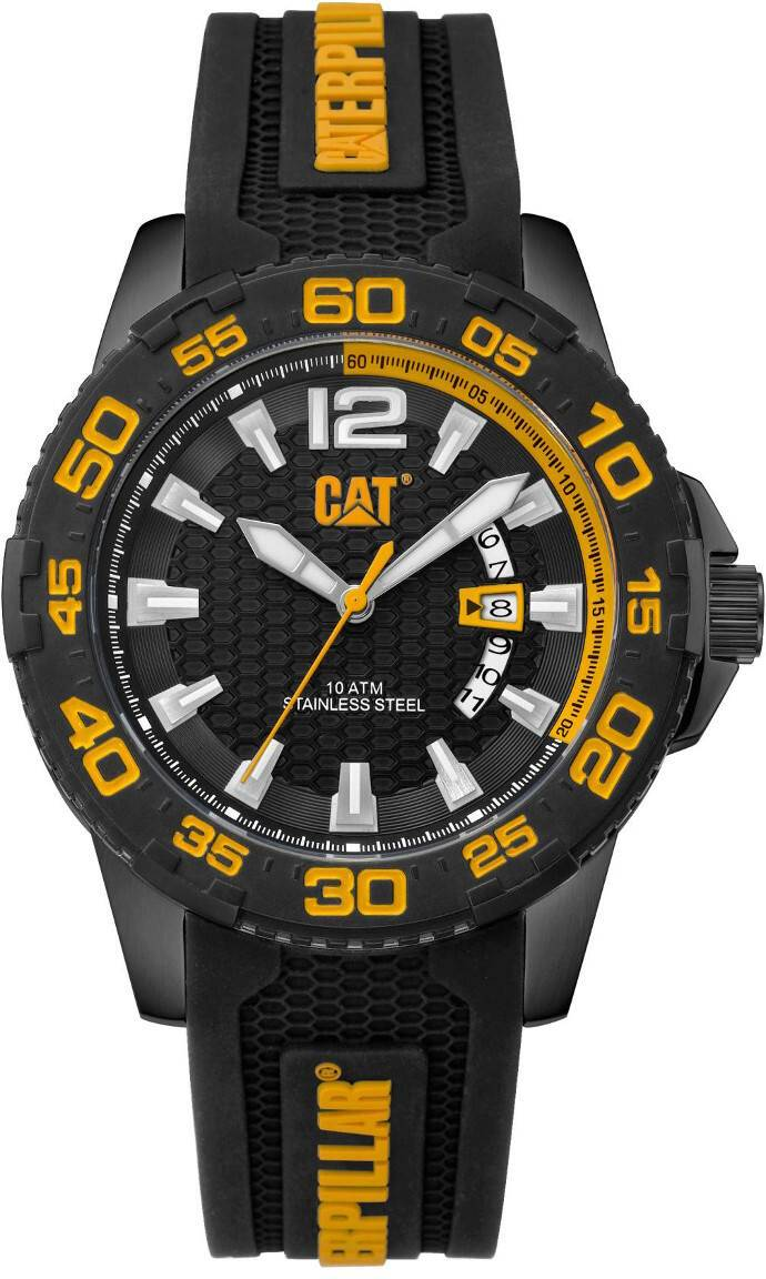 Caterpillar CAT Drive Date Black Yellow Dial silicone PW.161.21.127