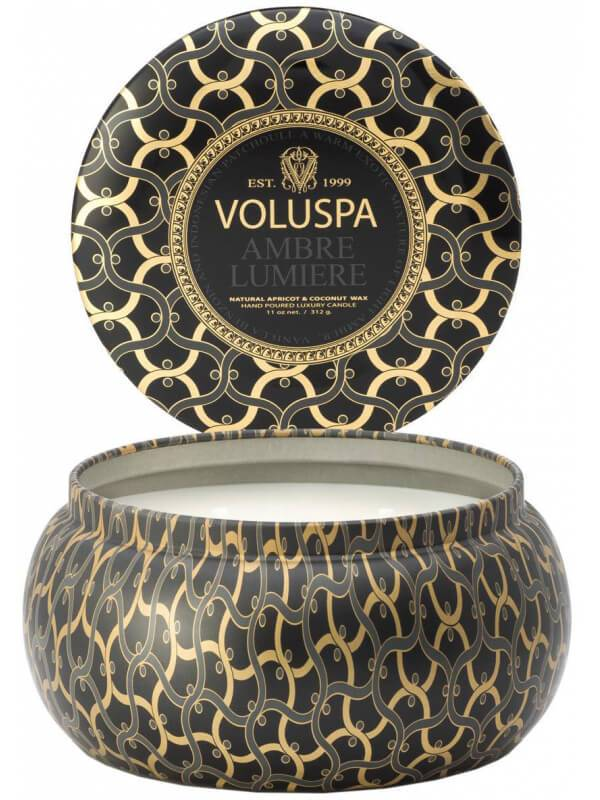 Voluspa 2 Wick Metallo Candle Ambre Lumiere