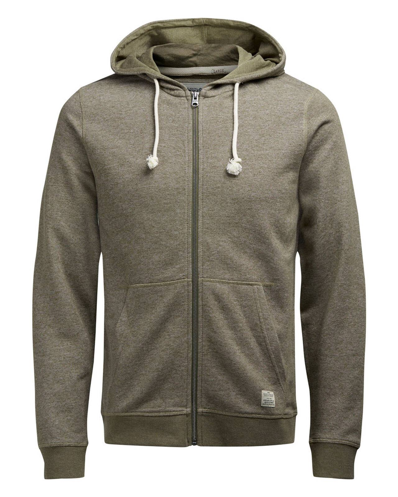 Jack & Jones Hooded Zip Through Sweatshirt Capers