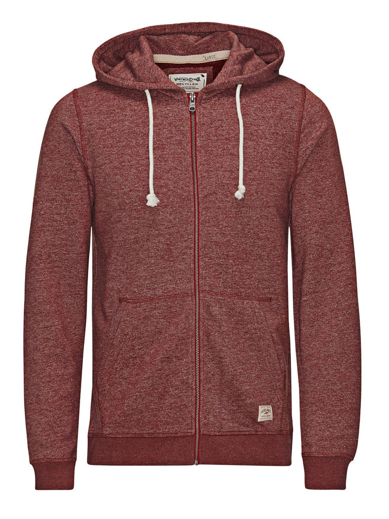 Jack & Jones Hooded Zip Through Sweatshirt Syrah