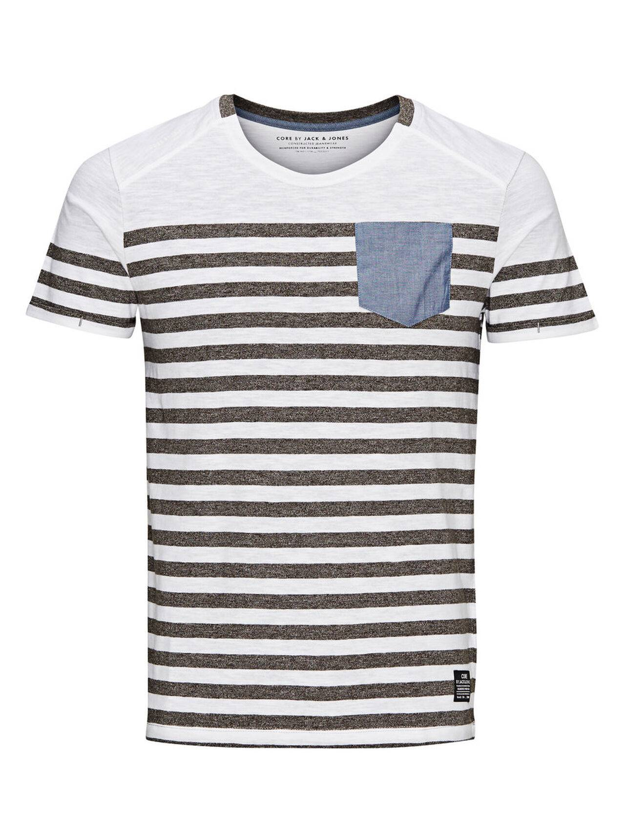 Jack & Jones Striped T-Shirt GreyMelange