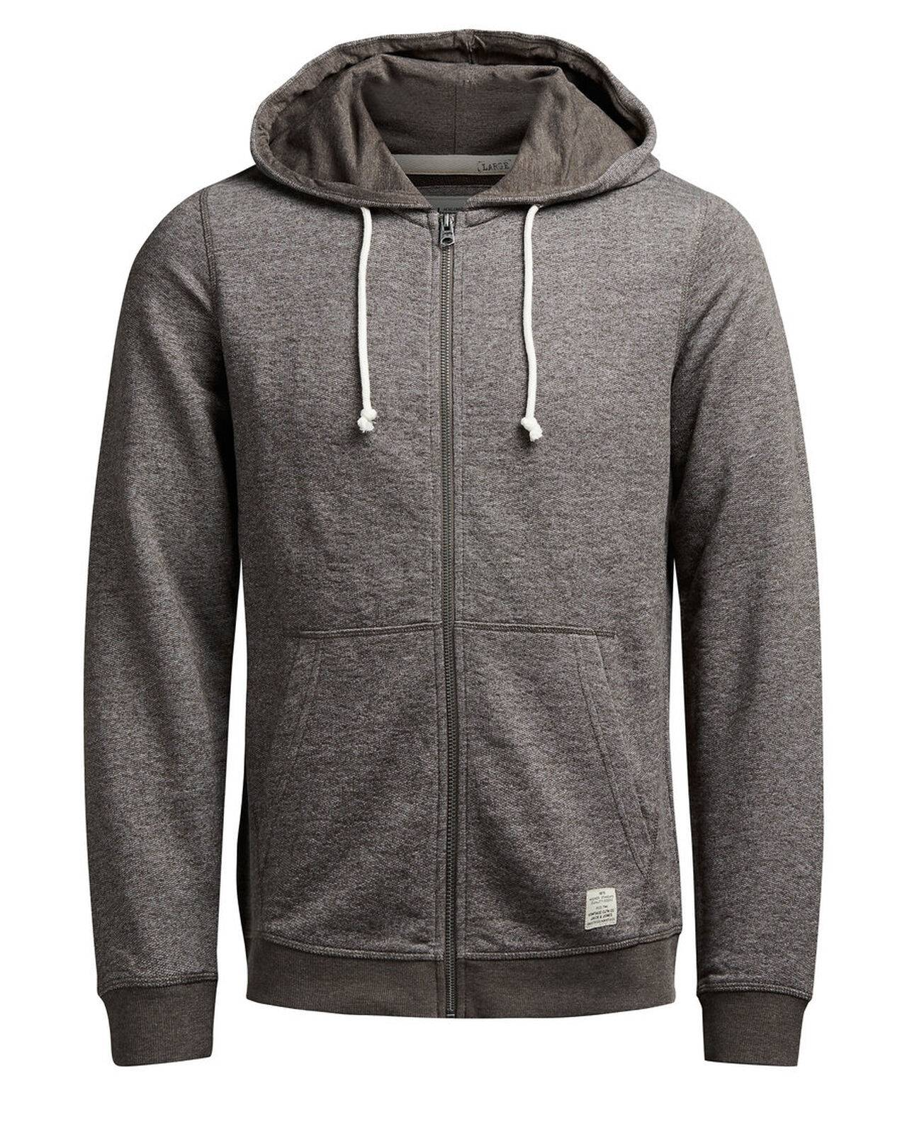 Jack & Jones Hooded Zip Through Sweatshirt BlackOlive