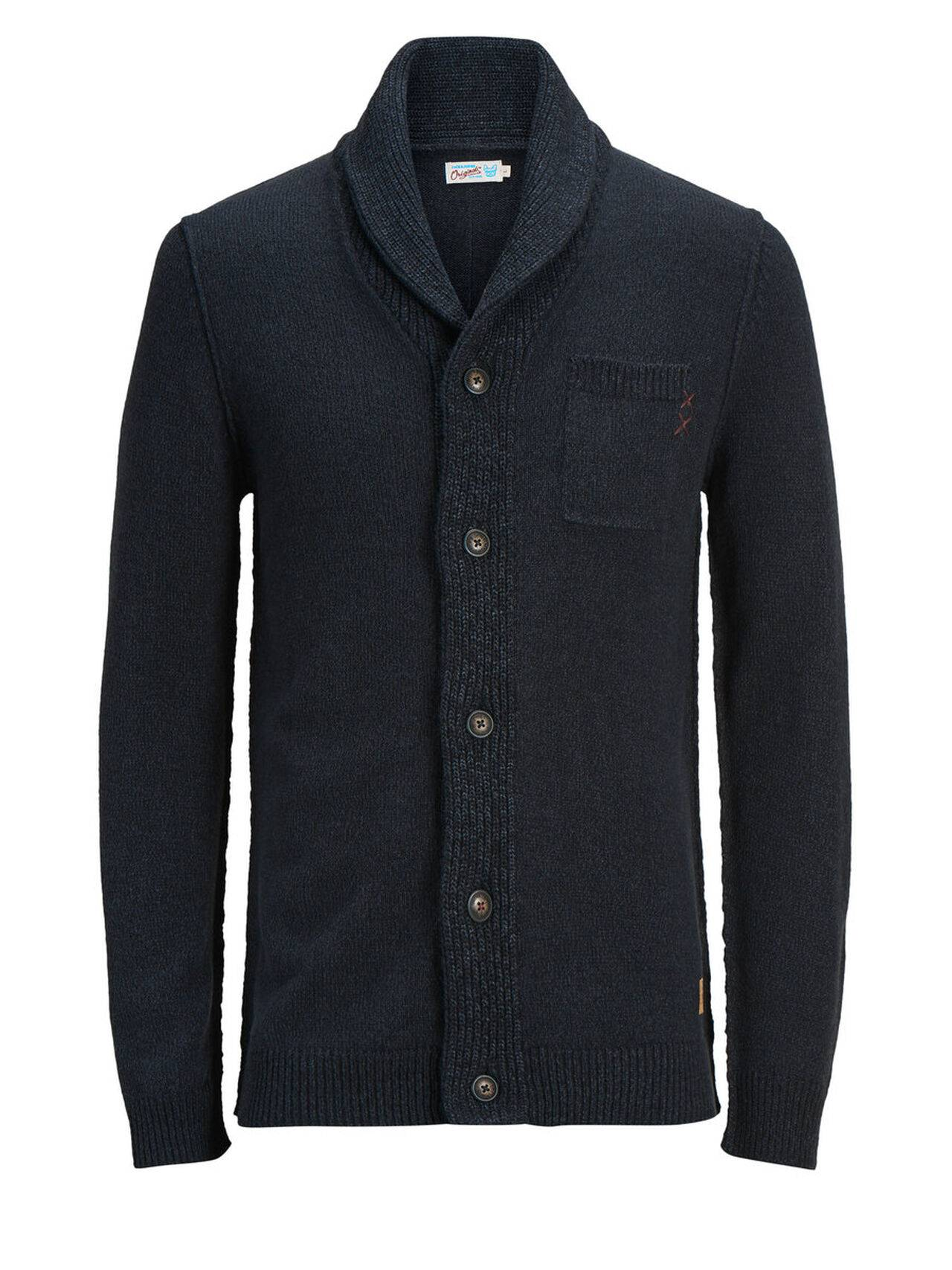 JACK & JONES Classic Knitted Cardigan Men Blue TotalEclipse