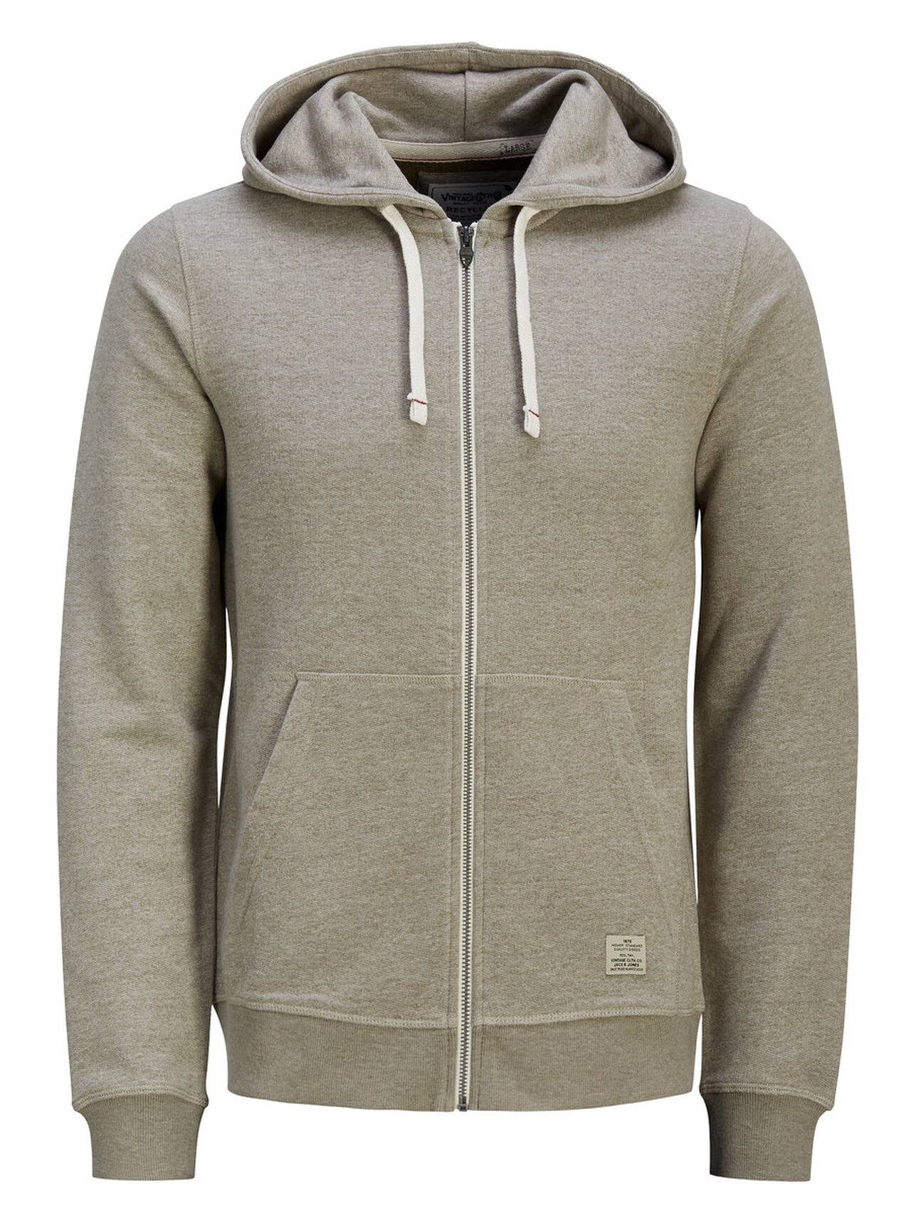 JACK & JONES Hooded Zip Through Sweatshirt Men Green Aluminum