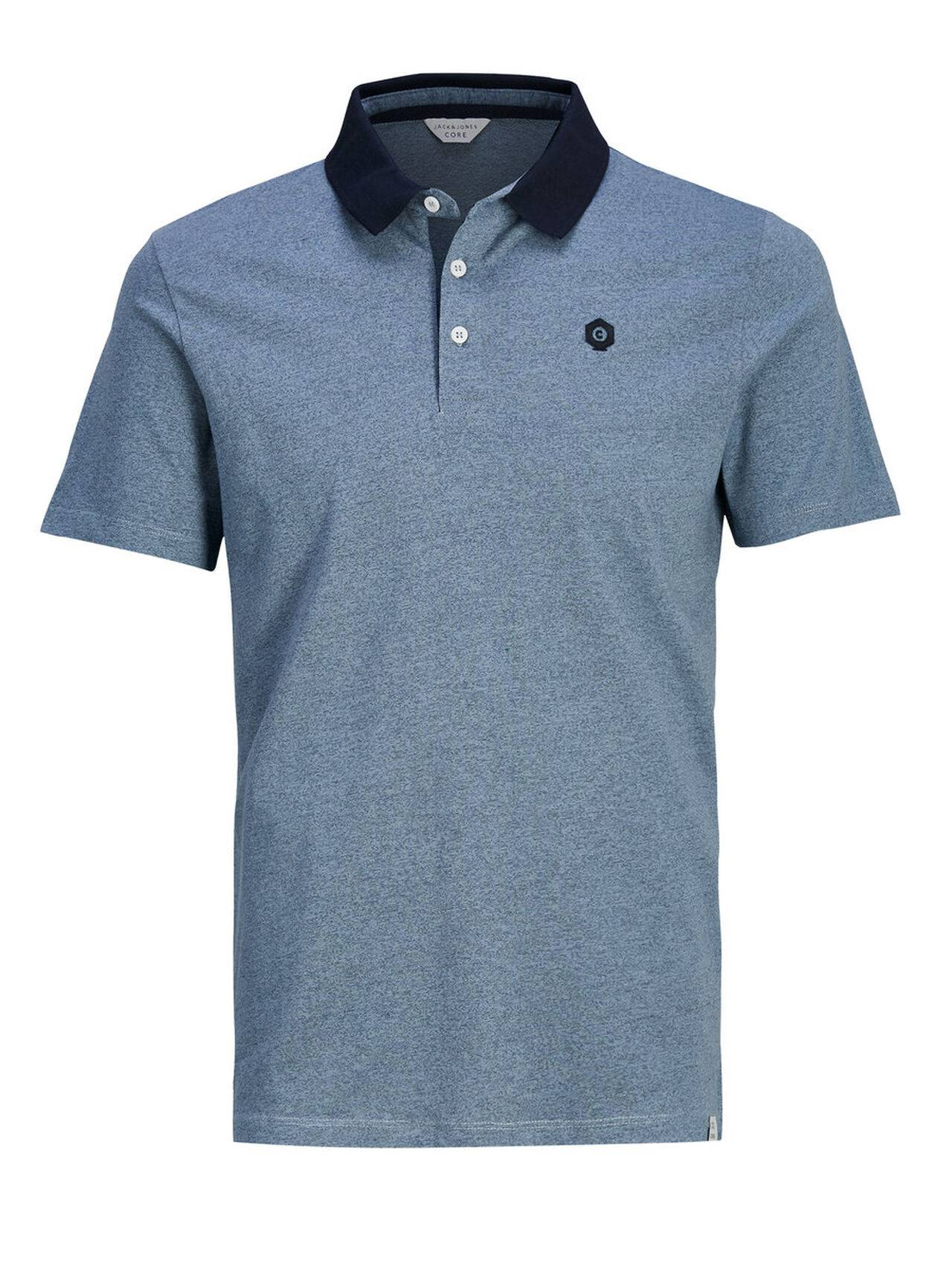 JACK & JONES Melange Polo Shirt Men Blue FadedDenim