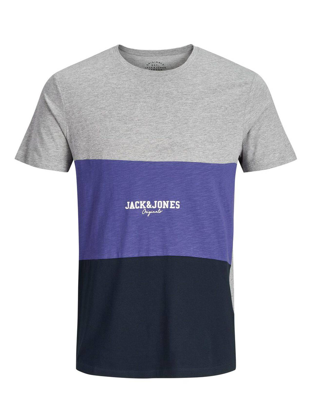 JACK & JONES Colour Block T-shirt Men Grey LightGreyMelange