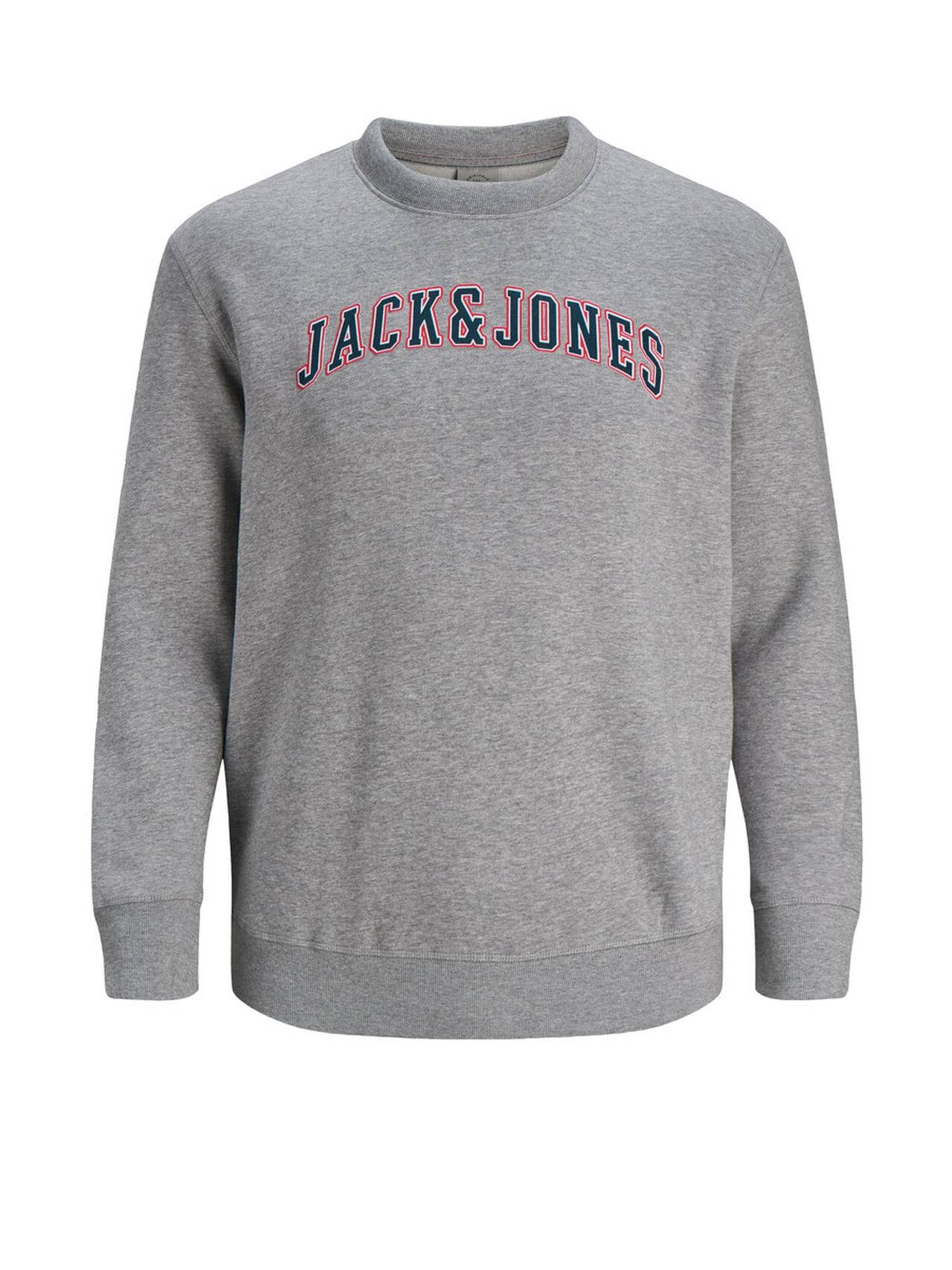 JACK & JONES Crew Neck Plus Size Sweatshirt Men Grey LightGreyMelange