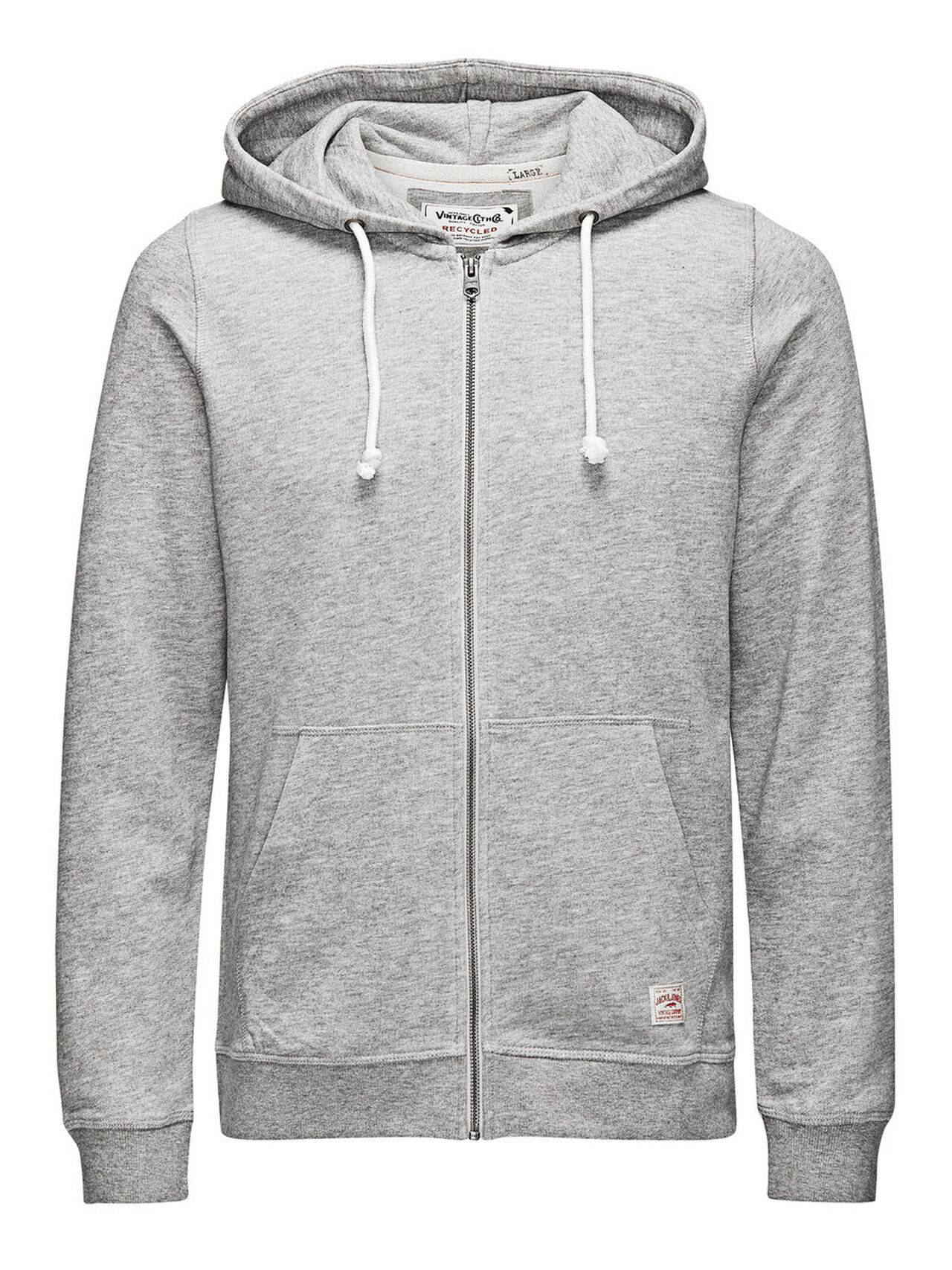 JACK & JONES Hooded Zip Through Sweatshirt Men Grey LightGreyMelange