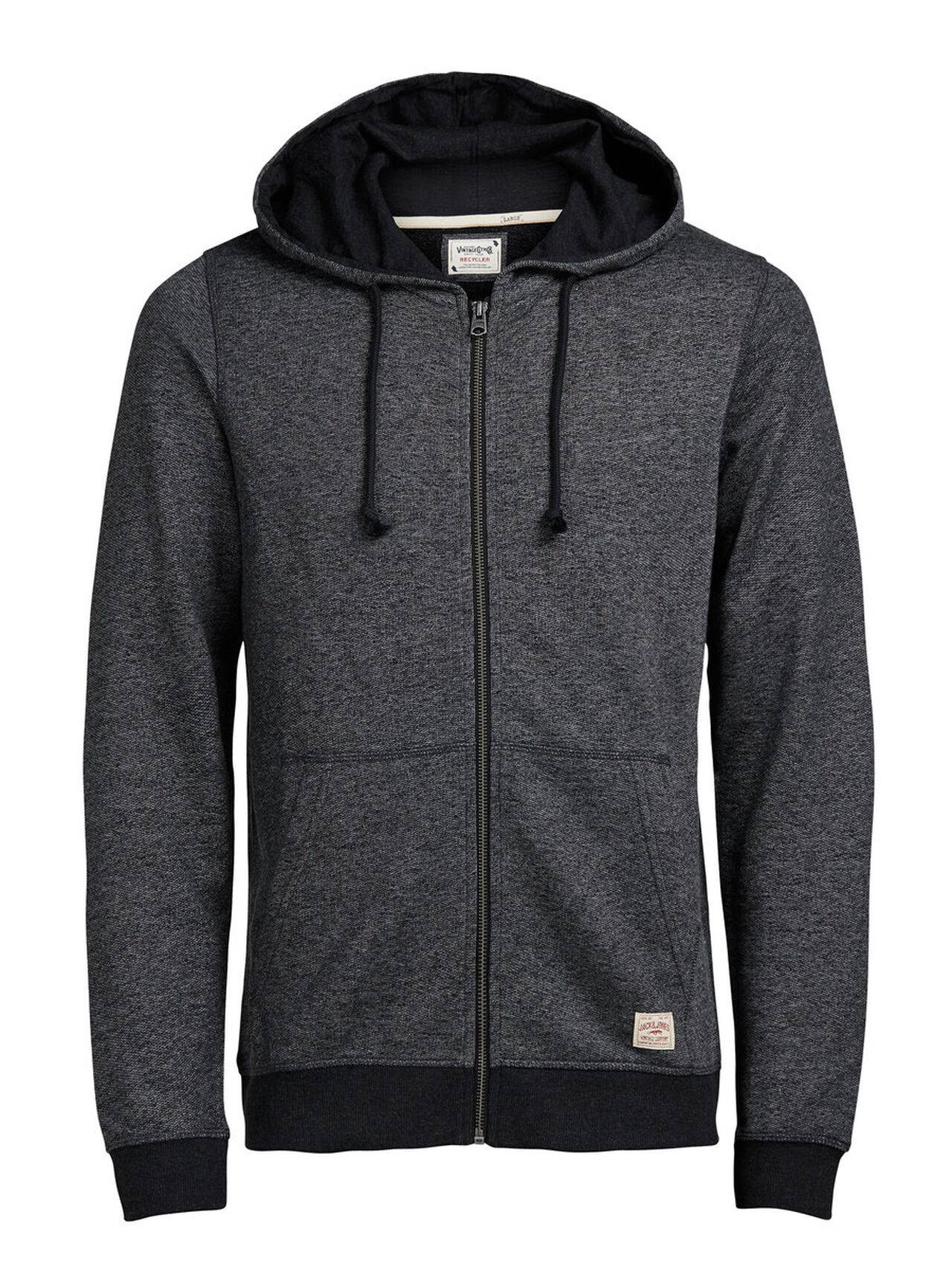 JACK & JONES Hooded Zip Through Sweatshirt Men Grey Caviar