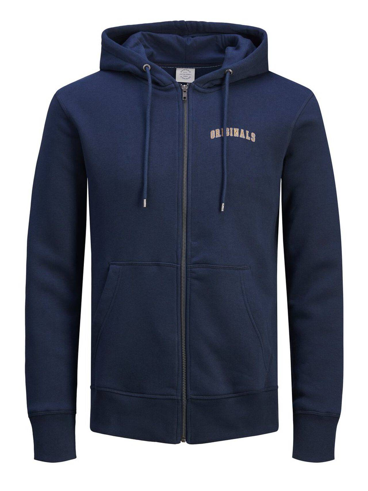 JACK & JONES Zip Up Hoodie Men Blue TotalEclipse