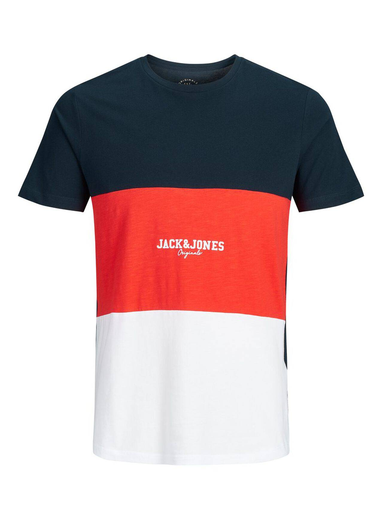 JACK & JONES Colour Block T-shirt Men Blue TotalEclipse
