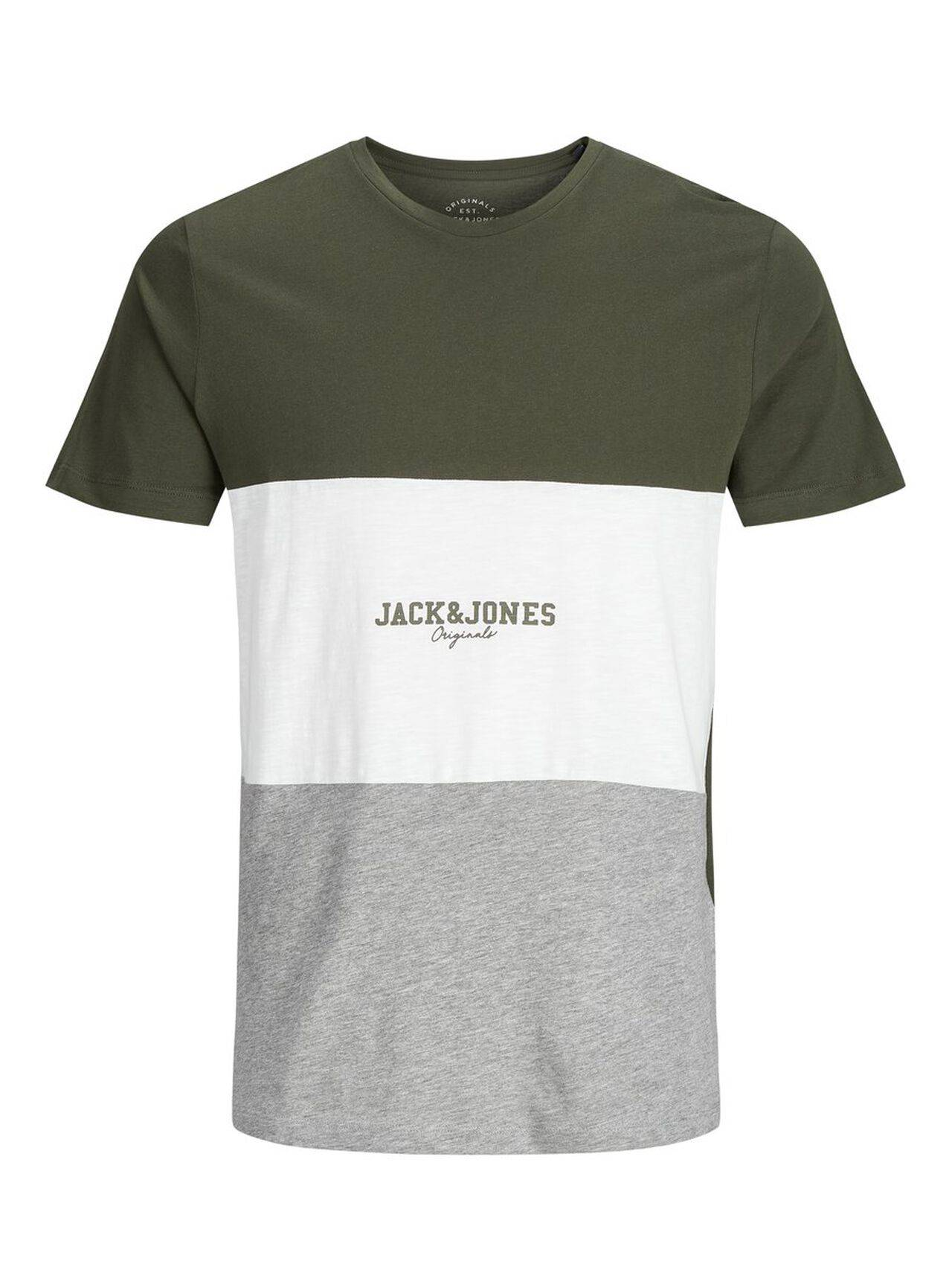 JACK & JONES Colour Block T-shirt Men Green ForestNight