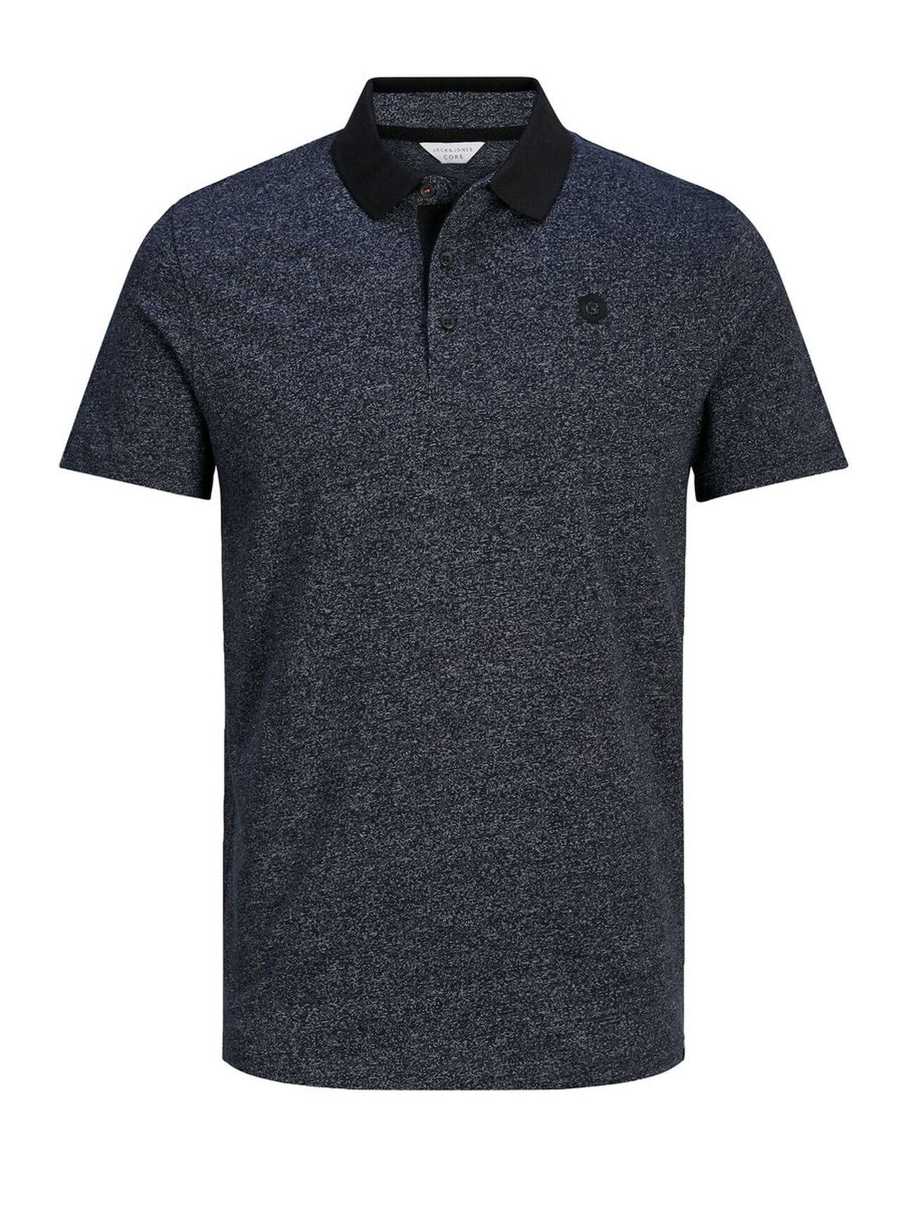 JACK & JONES Melange Polo Shirt Men Blue SkyCaptain