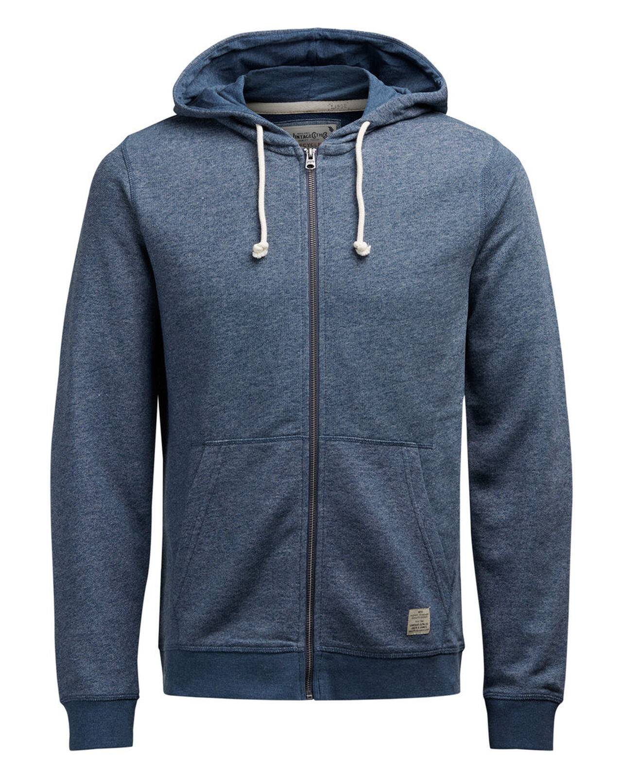 JACK & JONES Hooded Zip Through Sweatshirt Men Blue BlueWingTeal