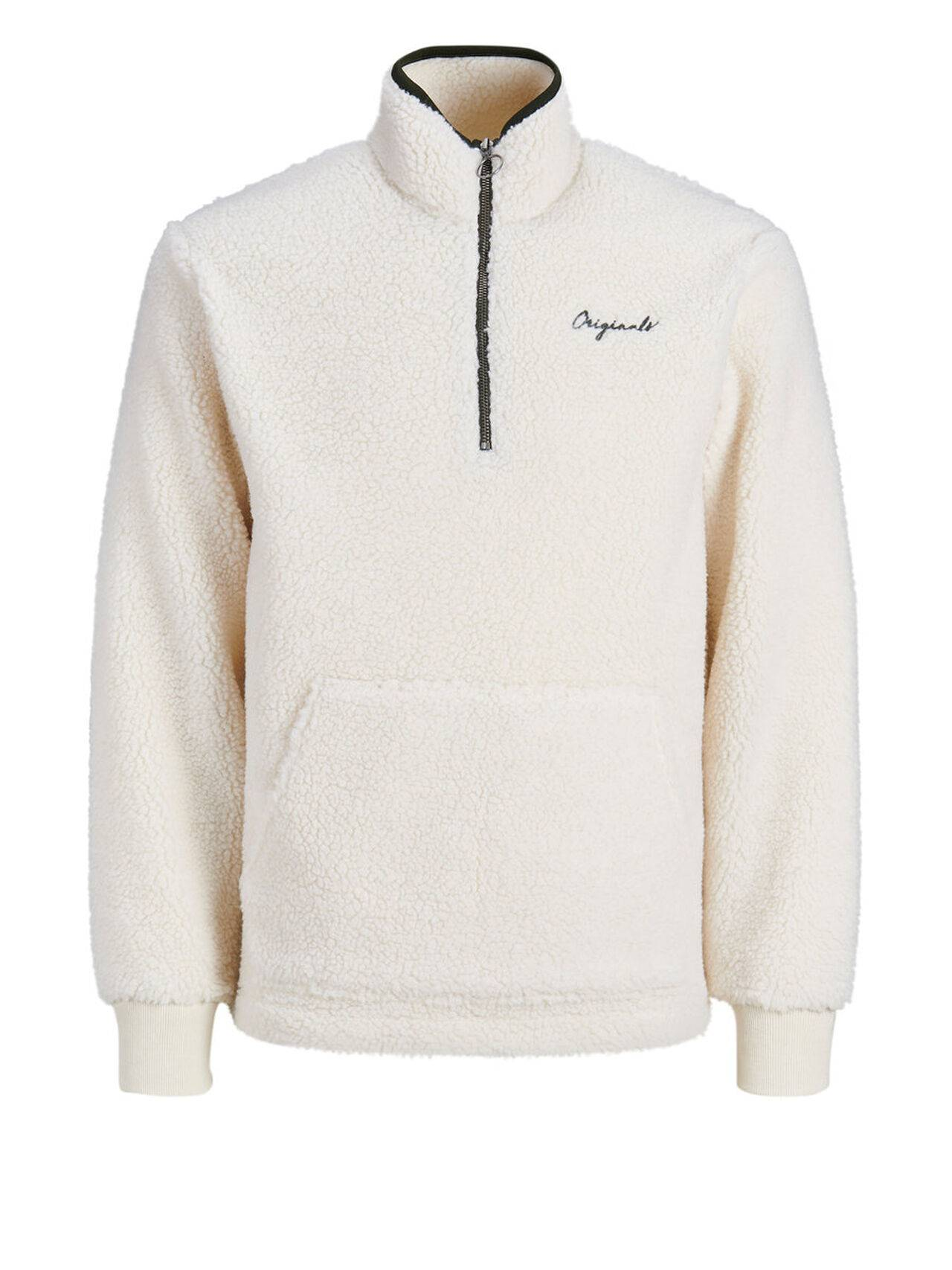 JACK & JONES Half Zip Sweatshirt Men White CloudDancer
