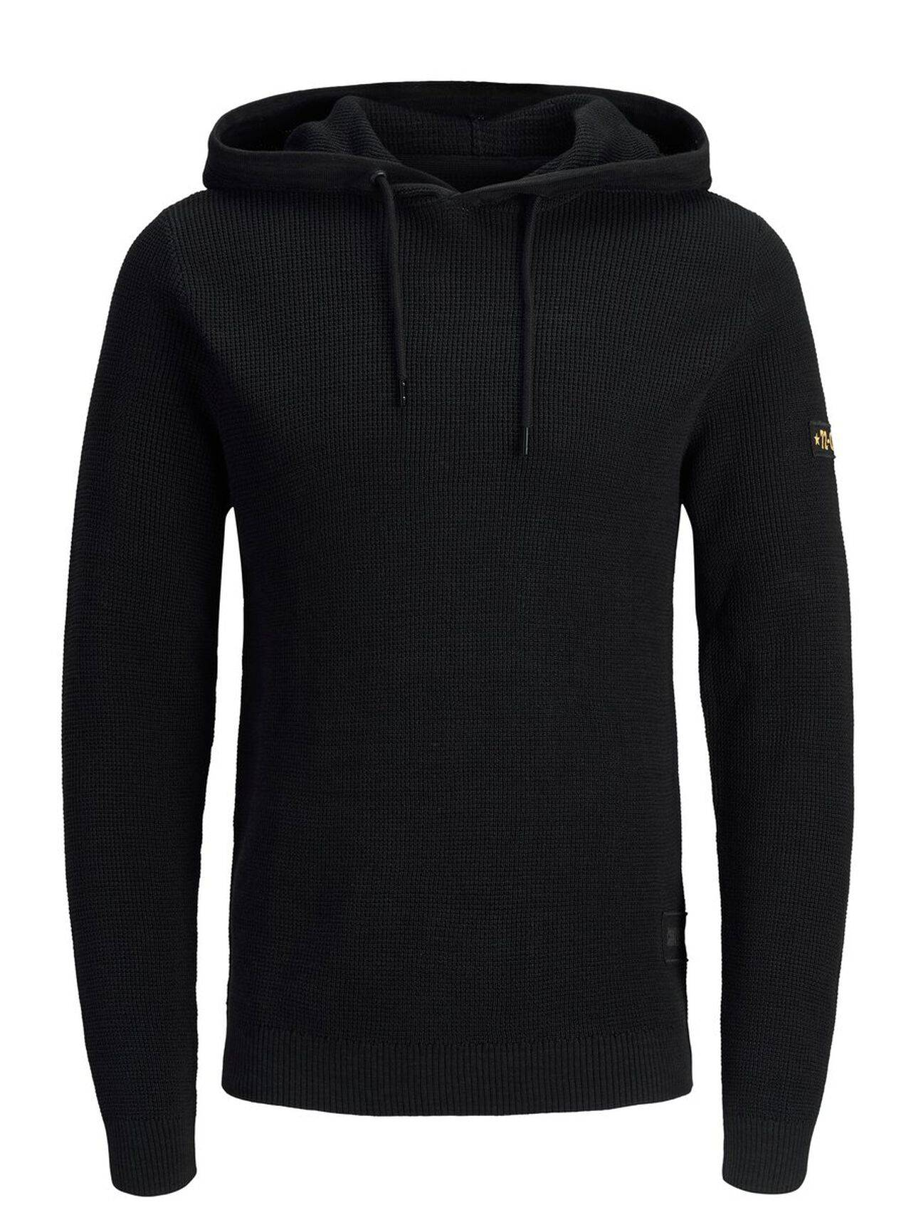 JACK & JONES Knitted Hoodie Men Black Black