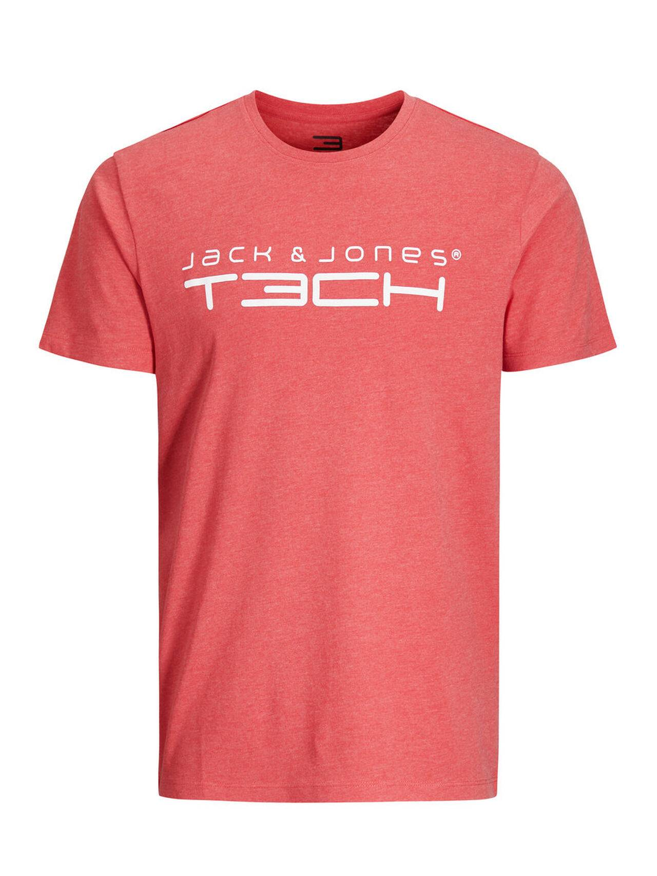 JACK & JONES Printed Sports T-shirt Men Red Poinsettia