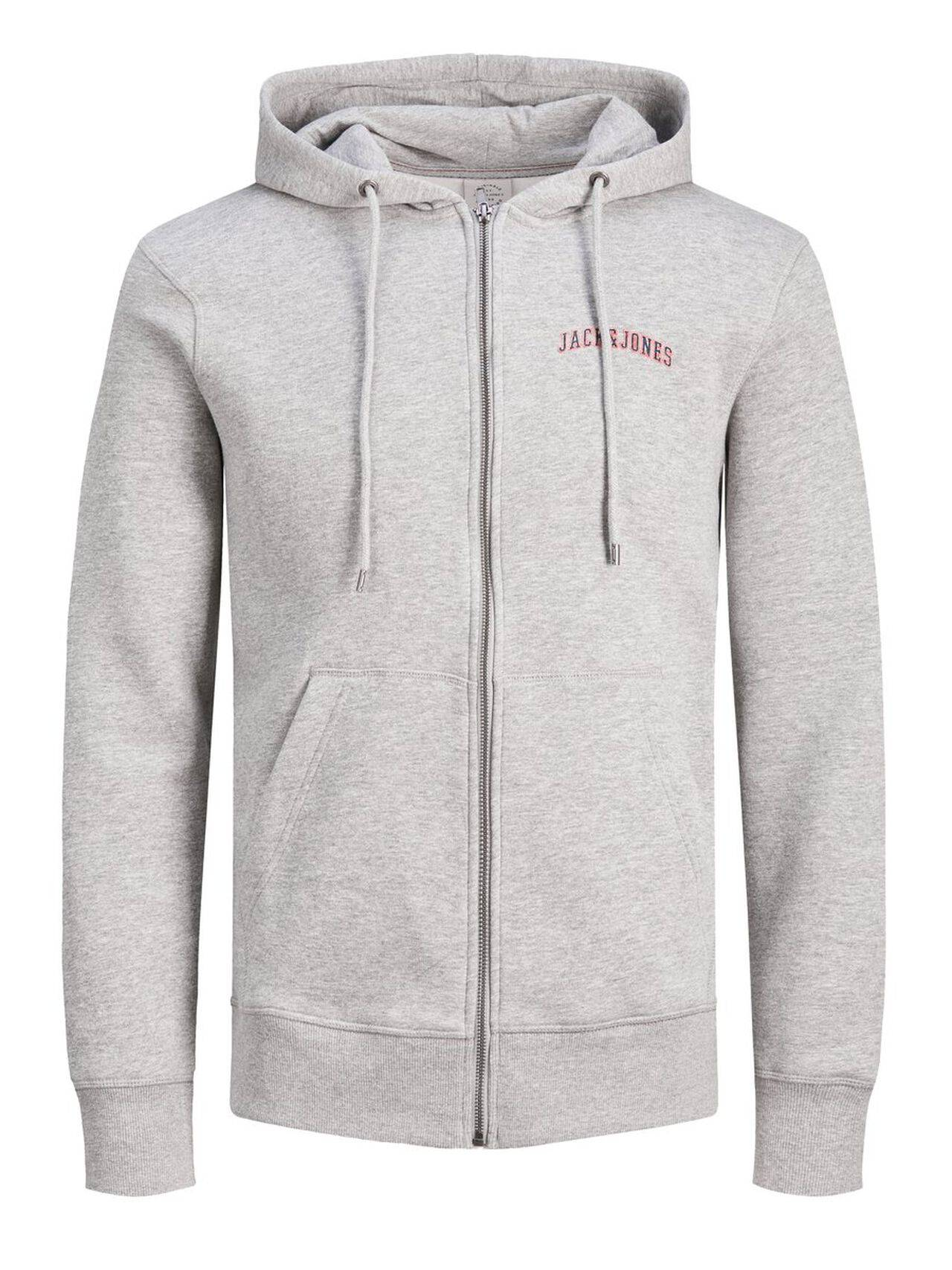 JACK & JONES Zip Up Hoodie Men Grey LightGreyMelange