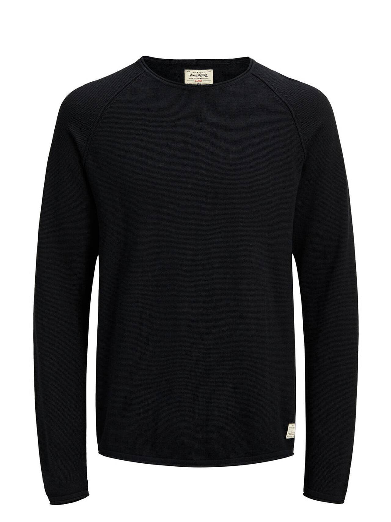 JACK & JONES Classic Knitted Pullover Men Black Caviar