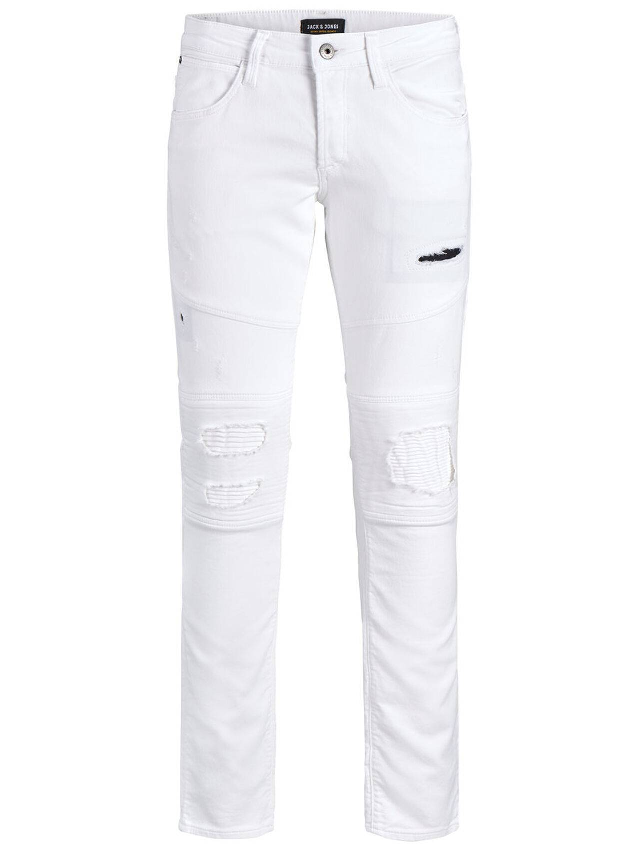 JACK & JONES Glenn Jaxx Biker Blanc De Blanc Trousers Men White BlancdeBlanc