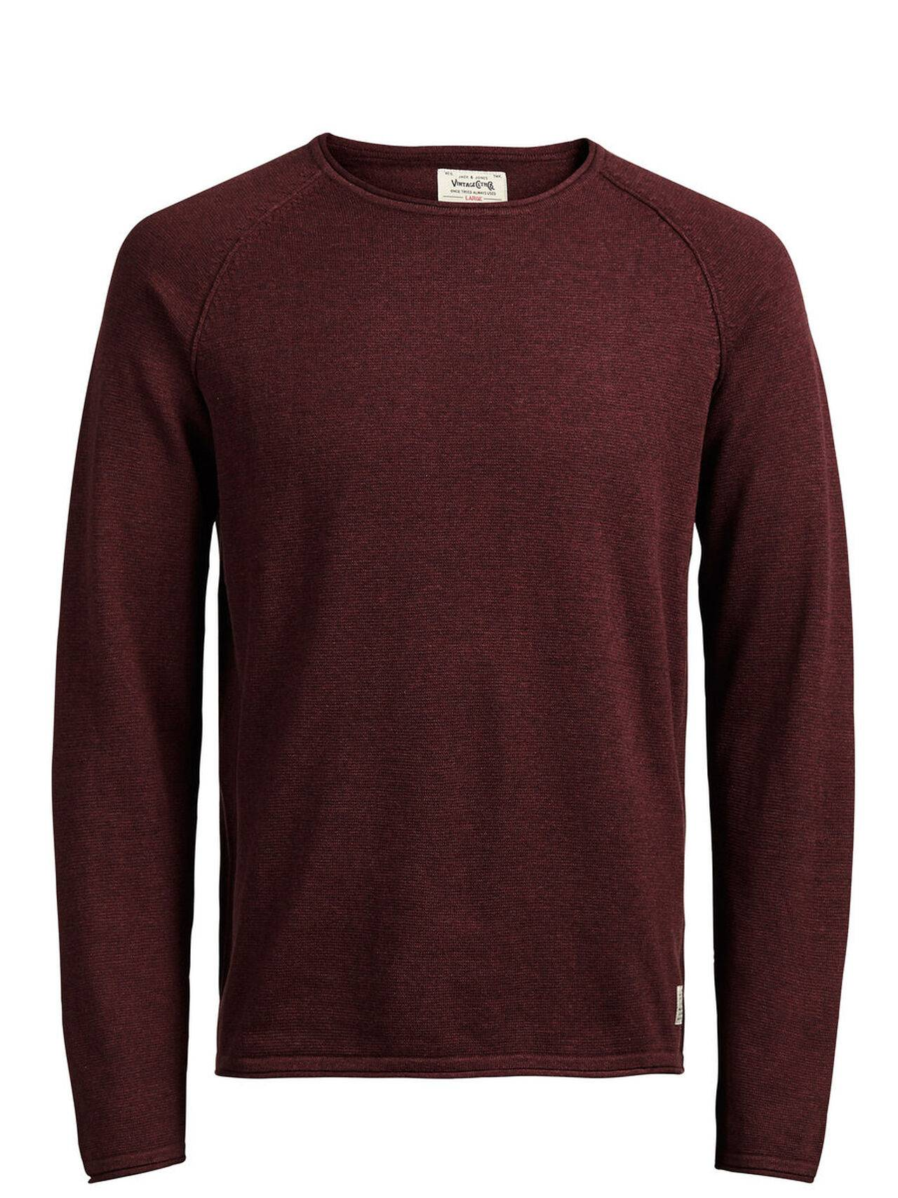 JACK & JONES Classic Knitted Pullover Men Red FiredBrick