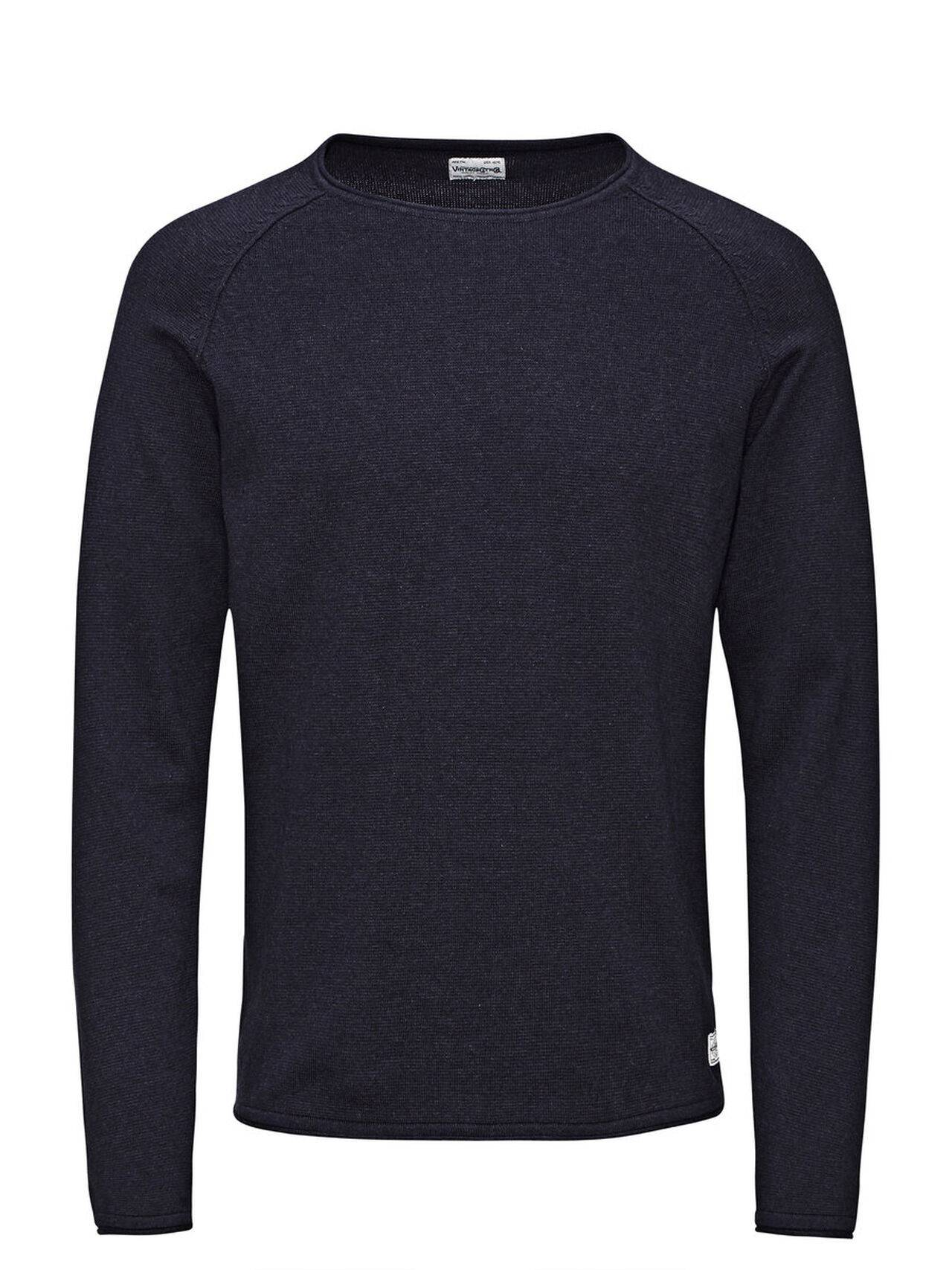 JACK & JONES Classic Knitted Pullover Men Blue TotalEclipse
