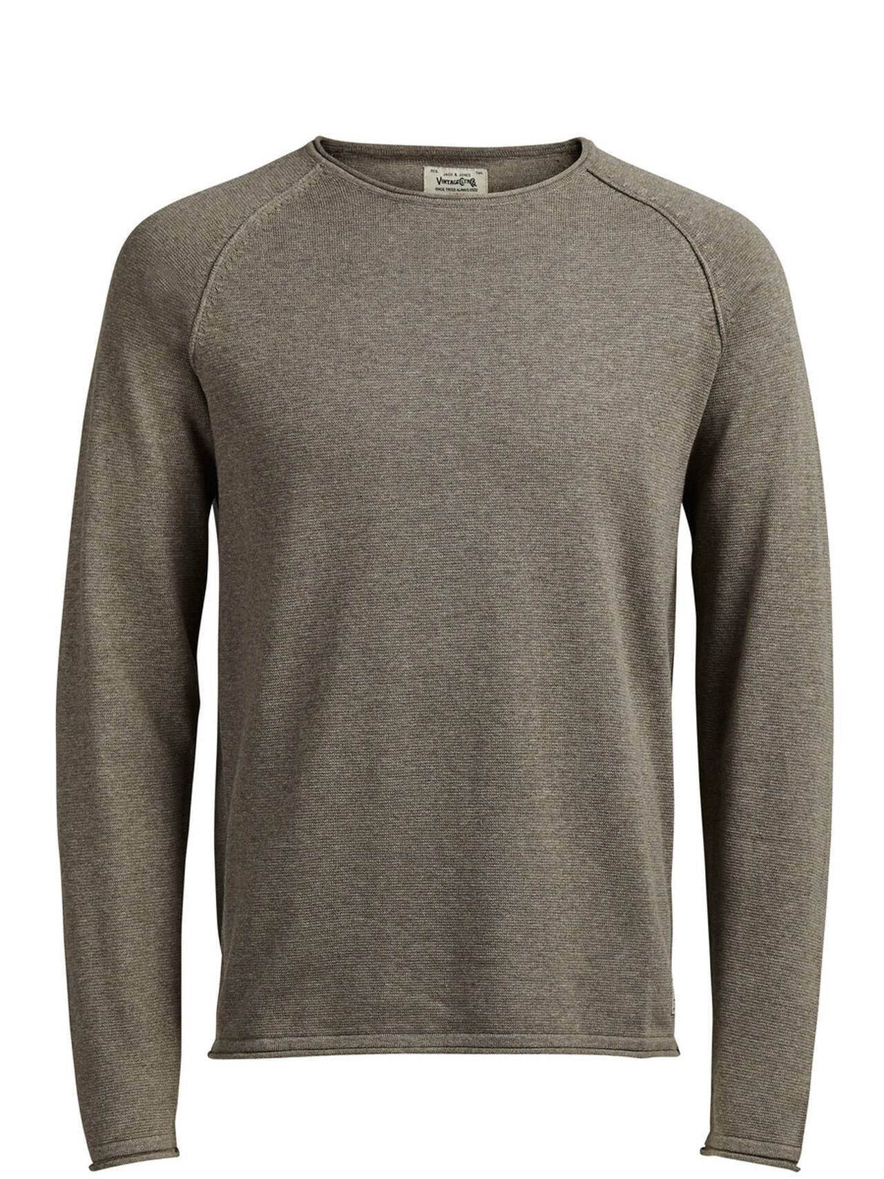 JACK & JONES Classic Knitted Pullover Men Green ChocolateChip