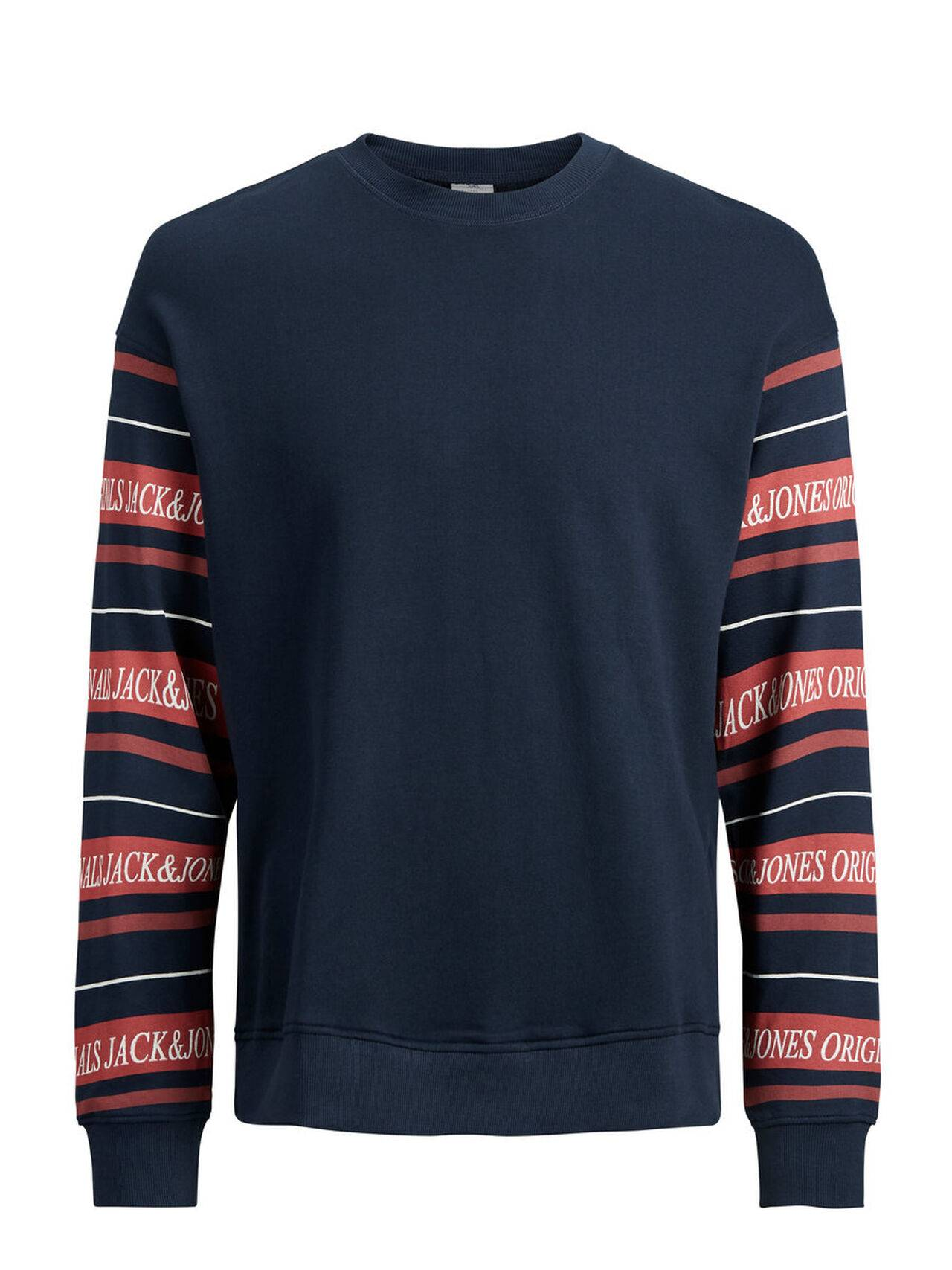 JACK & JONES Print Sweatshirt Men Blue TotalEclipse