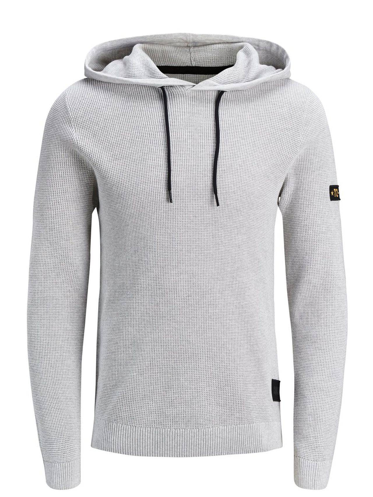 JACK & JONES Knitted Hoodie Men Grey WhiteMelange