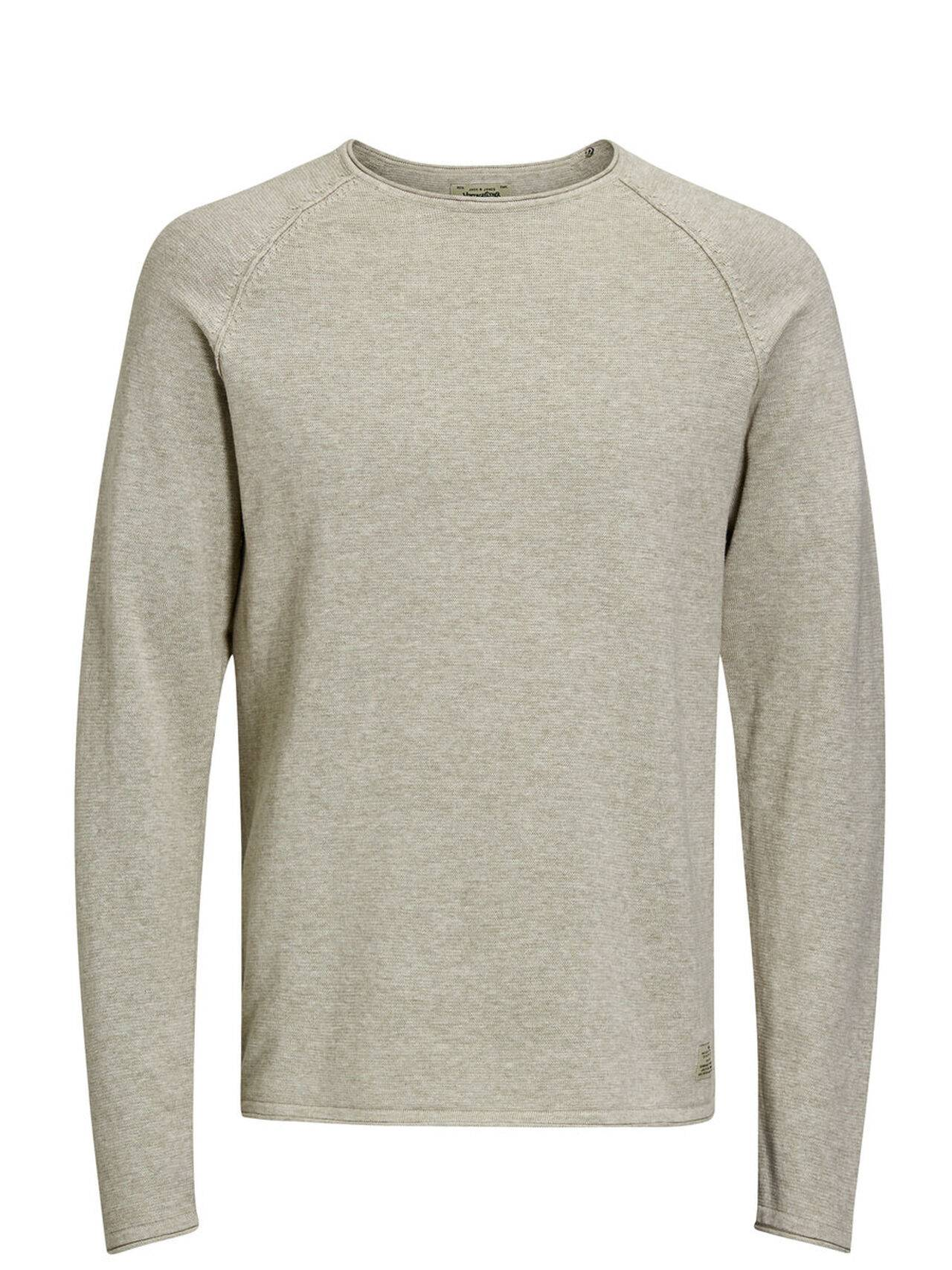 JACK & JONES Classic Knitted Pullover Men Beige Oatmeal