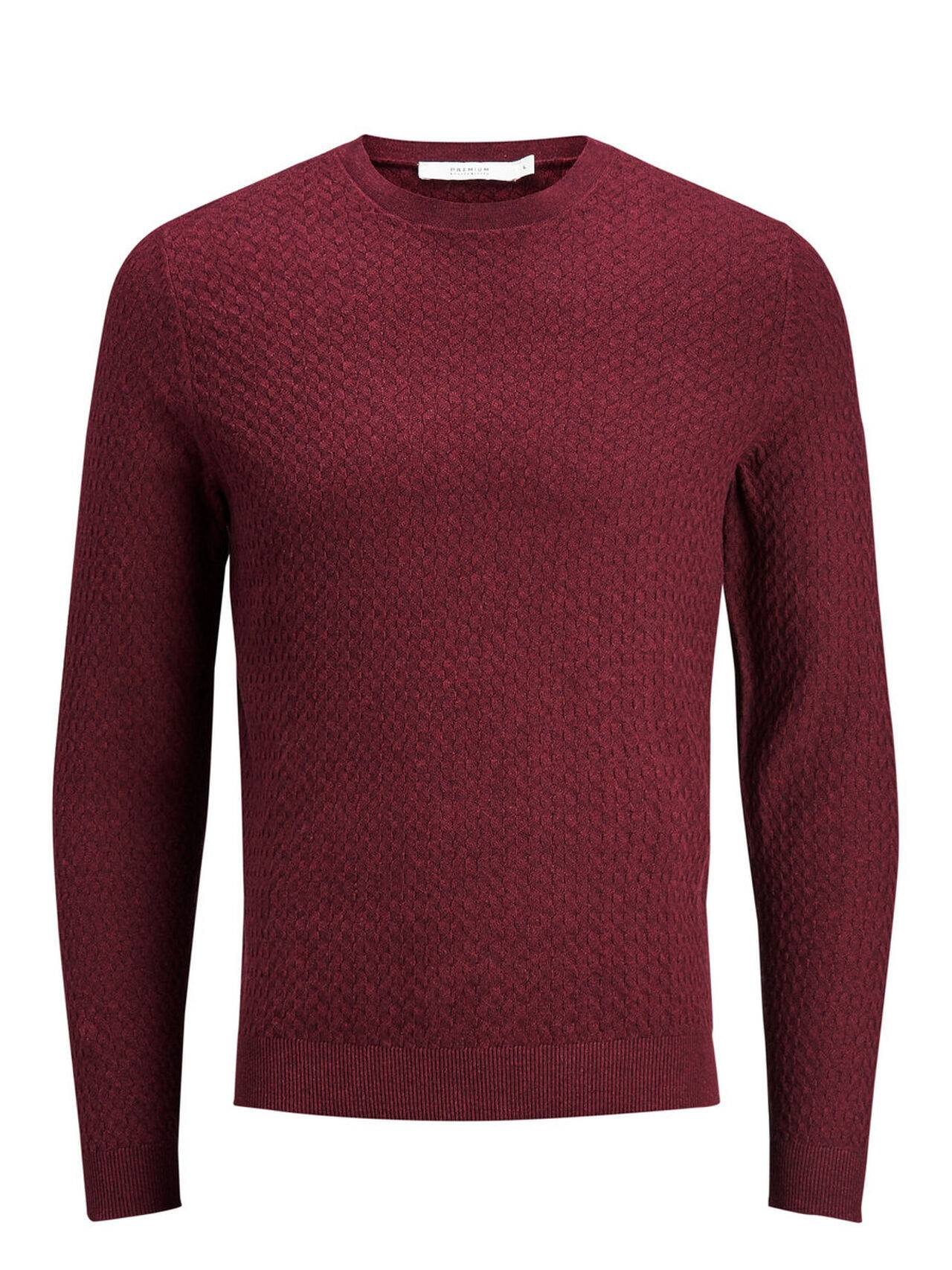JACK & JONES Classic Knitted Pullover Men Red TawnyPort