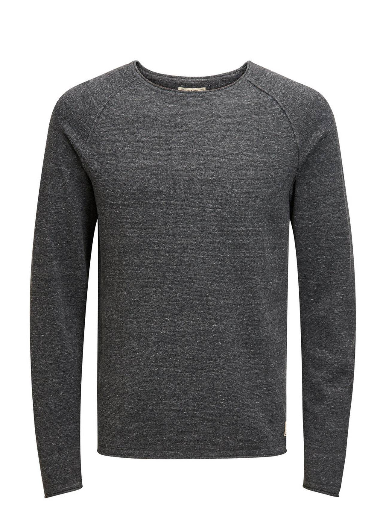 JACK & JONES Classic Knitted Pullover Men Grey DarkGreyMelange