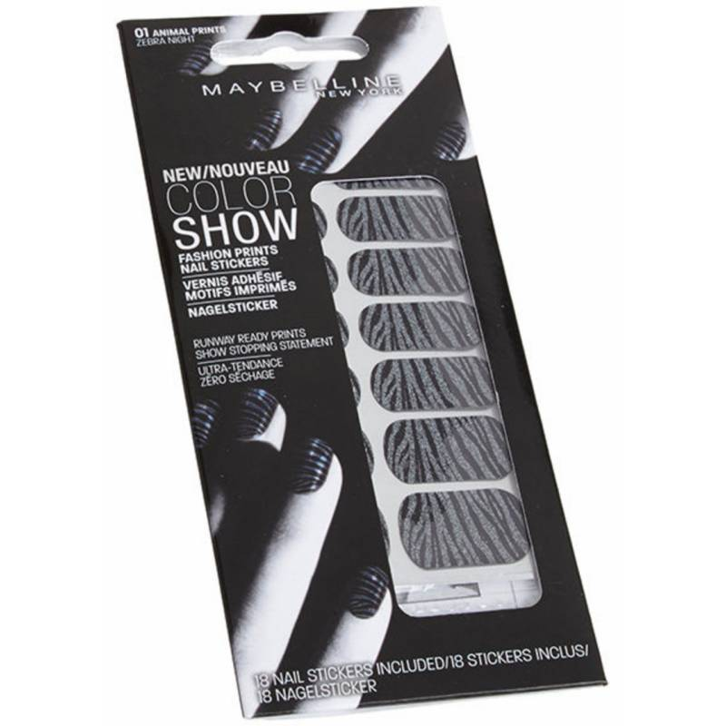 Maybelline Color Show Nail Stickers 01 Zebra Night 18 kpl Nail Wraps