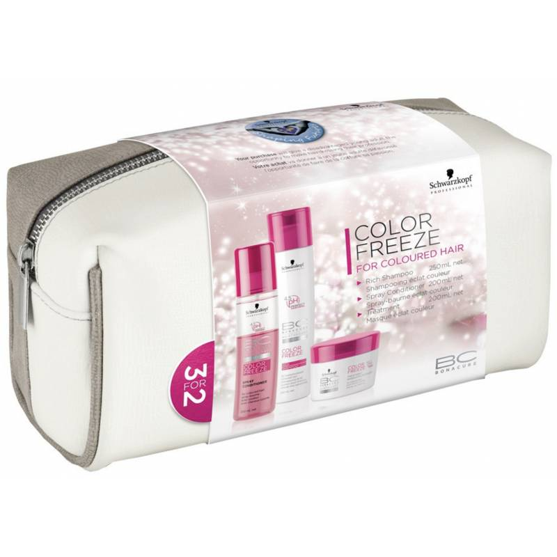 Schwarzkopf Bonacure Color Freeze Hair Set With Bag 250 ml + 200 ml + 200 ml + 1 kpl Lahjapakkaus