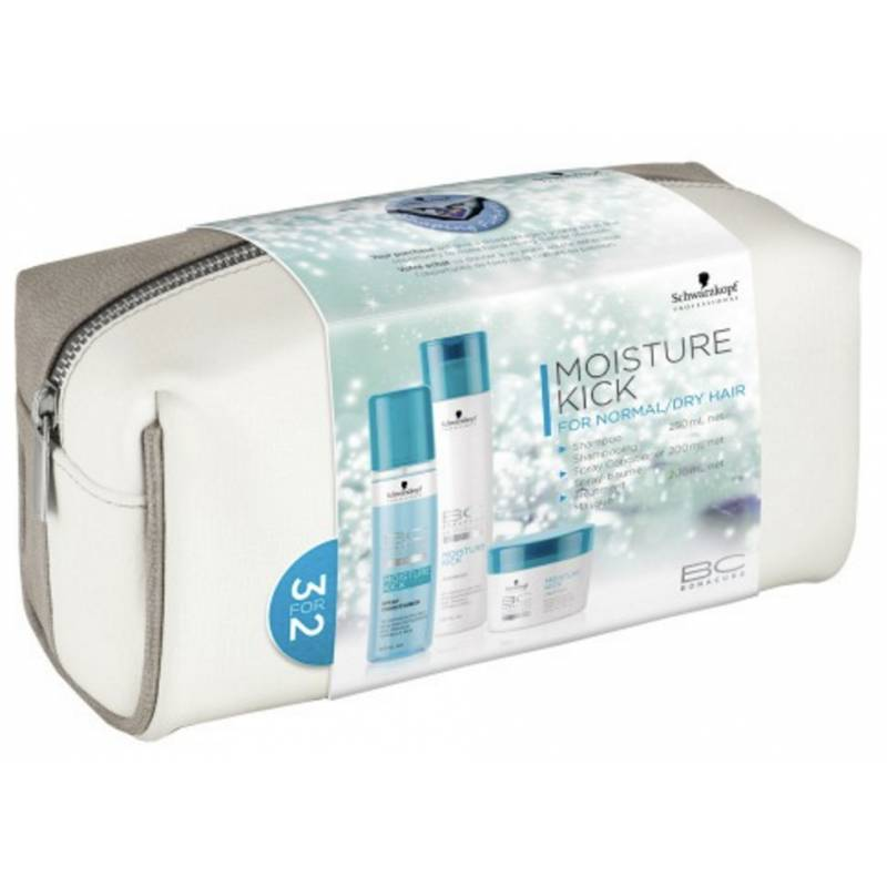 Schwarzkopf Bonacure Moisture Kick Set With Bag 250 ml + 200 ml + 200 ml + 1 kpl Lahjapakkaus