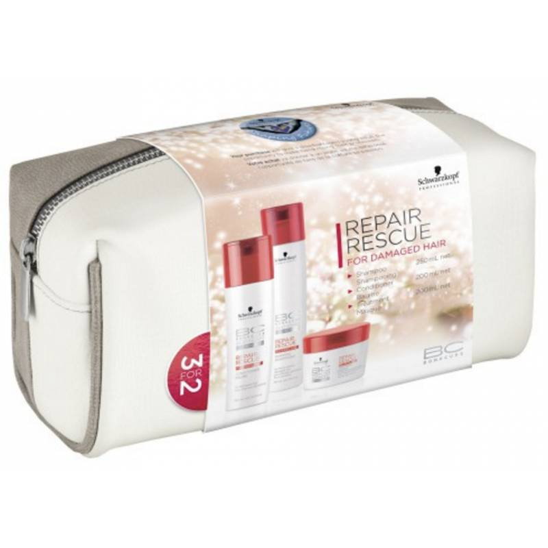 Schwarzkopf Bonacure Repair Rescue Set With Bag 250 ml + 200 ml + 200 ml + 1 kpl Lahjapakkaus