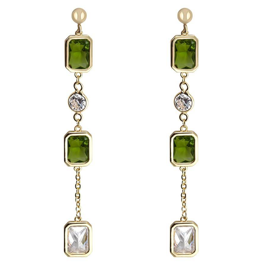 Snö of Sweden Twice Long Earring 66 mm – Gold/Olive