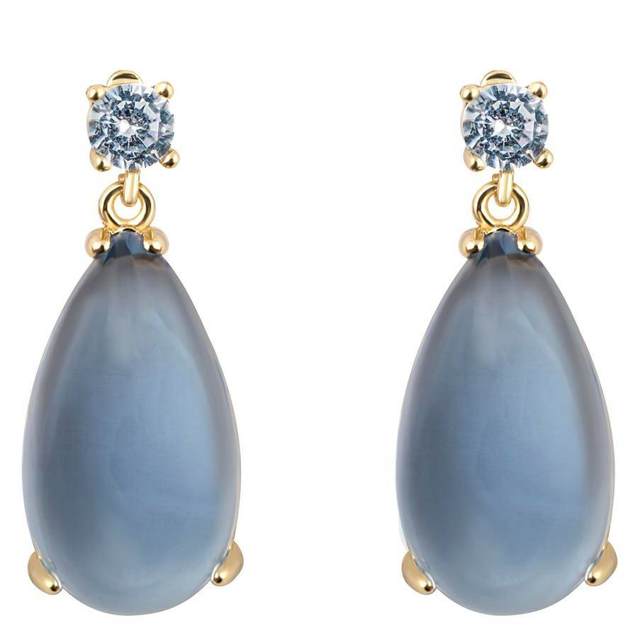 Snö of Sweden Oscar Small Drop Earring Gold/Blue 25 mm