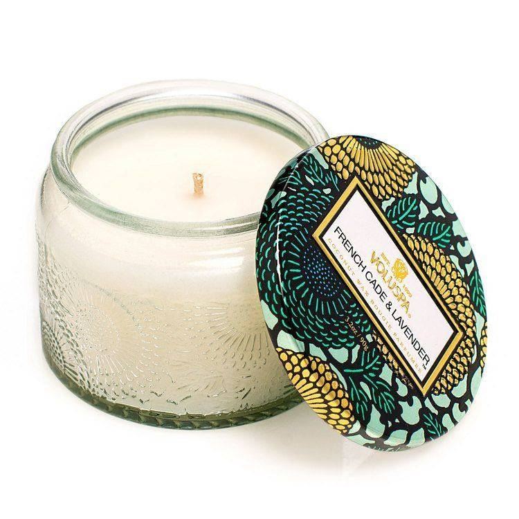 Voluspa French Cade & Lavender Petite Embossed Glass Jar Candle 90g