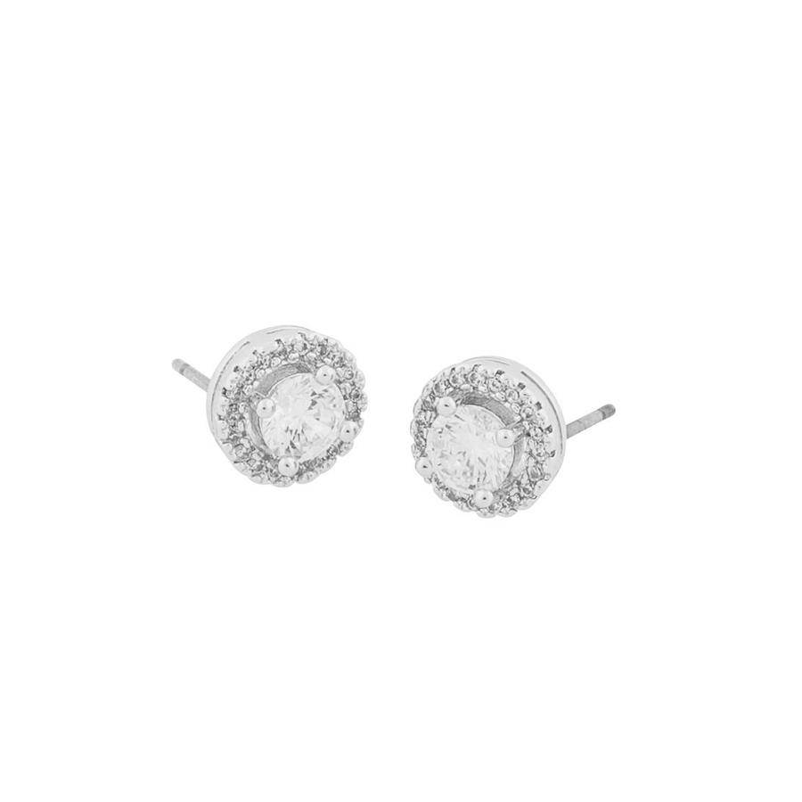 Snö Of Sweden Lou Round Stone Earring - Silver/Clear