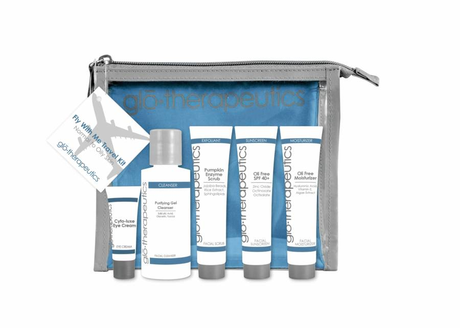 GloTherapautics glo therapeutics Fly With Me Travel Kit Normal To Oily Skin set, 5 osaa