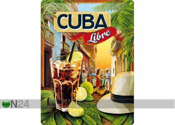 ART Retrotyylinen metallijuliste CUBA LIBRE 30x40 cm