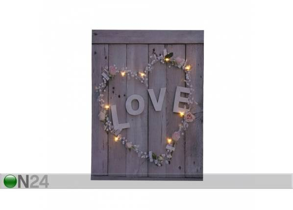 LED taulu LOVE & FLOWER HEART 50x70 cm