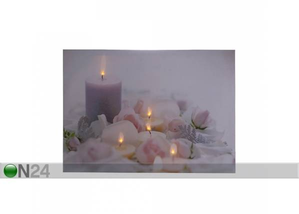 LED taulu CANDLES & ROSE BLOSSOM 30x40