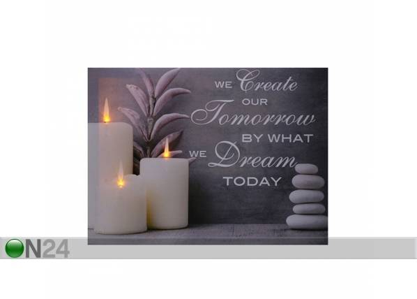 LED taulu SLOGAN & CANDLES 30x40 cm