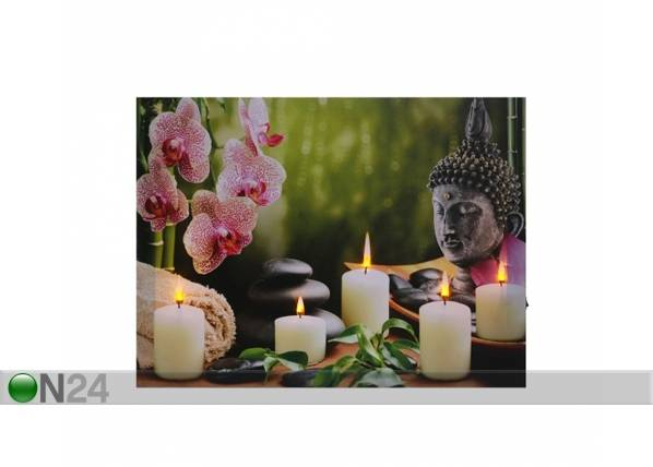 LED taulu BUDDHA WITH CANDLES & ORCHIDS 30x40 cm