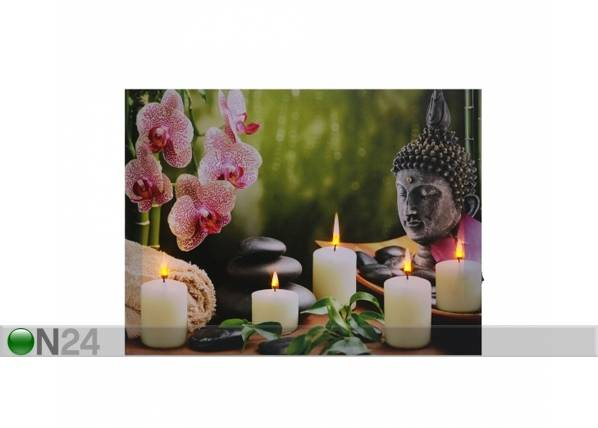LED taulu BUDDHA WITH CANDLES & ORCHIDS 50x70 cm