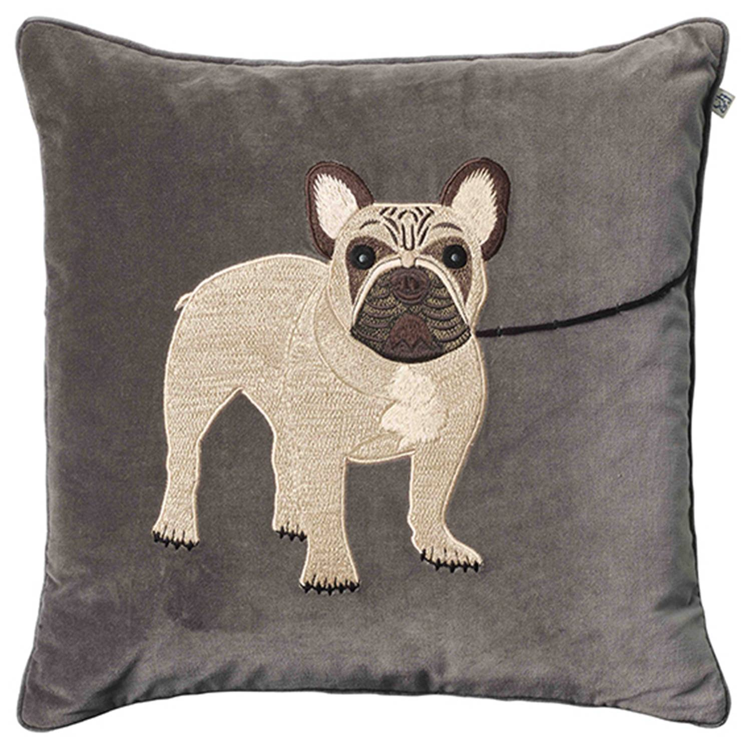 Chhatwal & Jonsson Embroidered French Bull Dog Cushion Cover, 50x50 cm