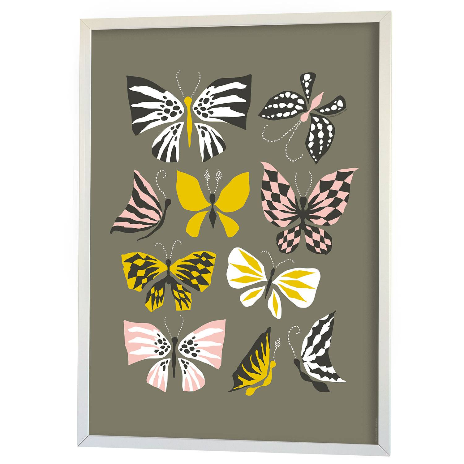 Littlephant Butterfly Family Graphic Print 50x70cm, Harmaa