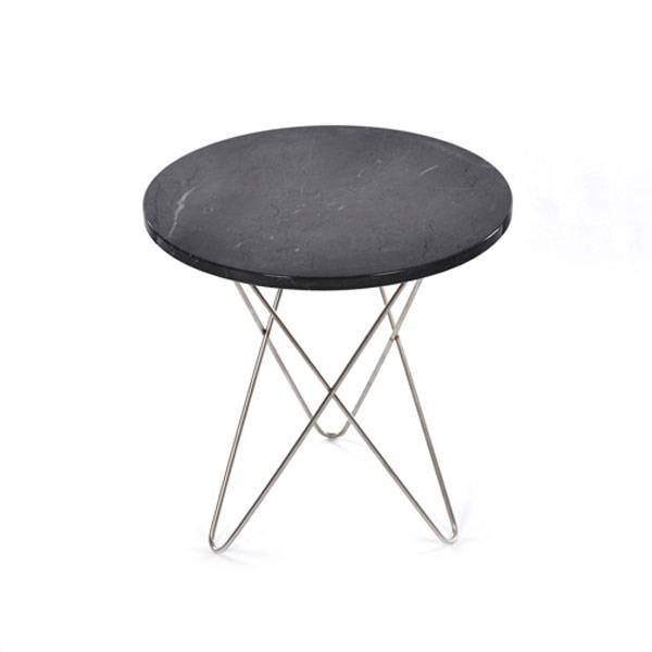 OX Denmarq Tall Mini O Side Table, Steel Base, Marble
